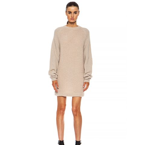 Davina Mix Mohair-Blend Sweater in Beige