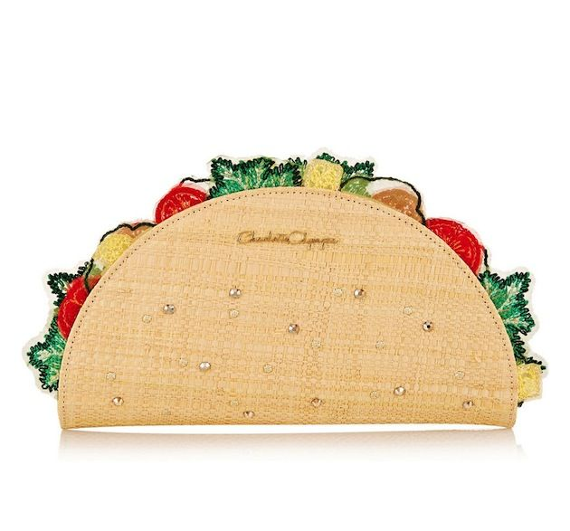 Charlotte Olympia Taquera Suede-Trimmed Embellished Raffia Clutch