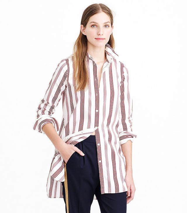 J. Crew Endless Shirt in Burgundy Stripe