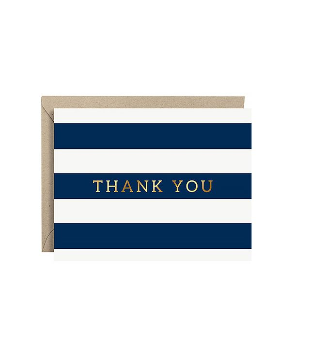 Paper Source Navy Stripe & Gold Foil Thank You Notes
