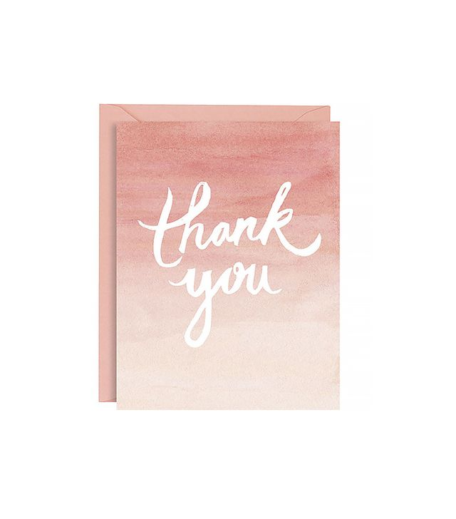 Paper Source Coral Watercolor Ombré Thank You Notes