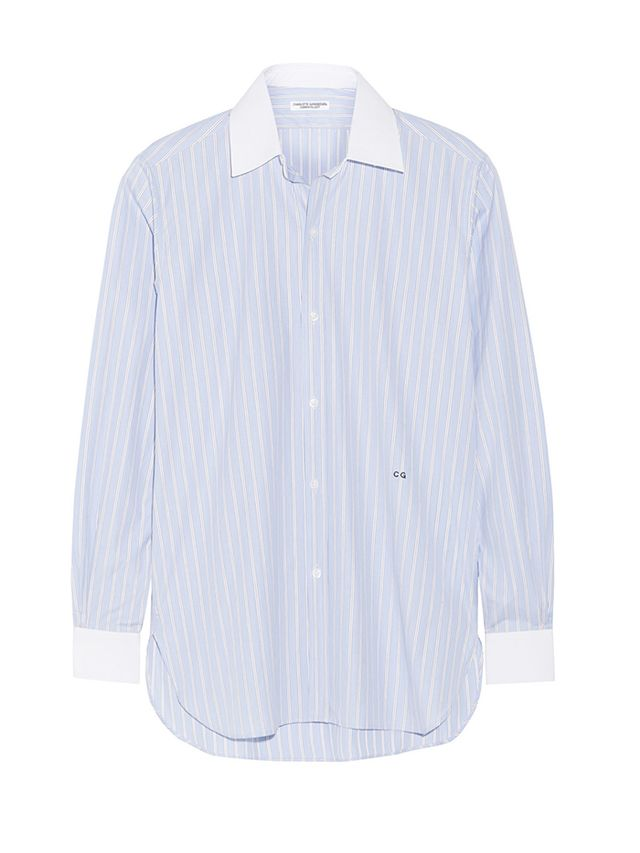 Current/Elliot + Charlotte Gainsbourg The Buttondown Striped Cotton Poplin Shirt