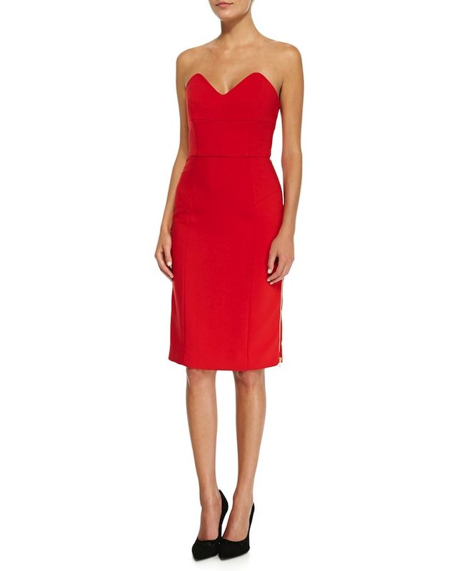 Milly Marta Side-Zip Strapless Dress