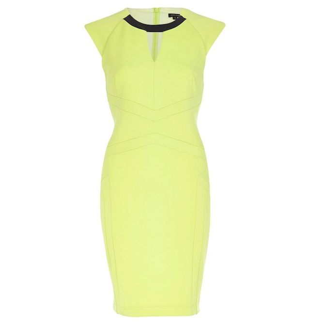 River Island Lime contrast trim cut out pencil dress