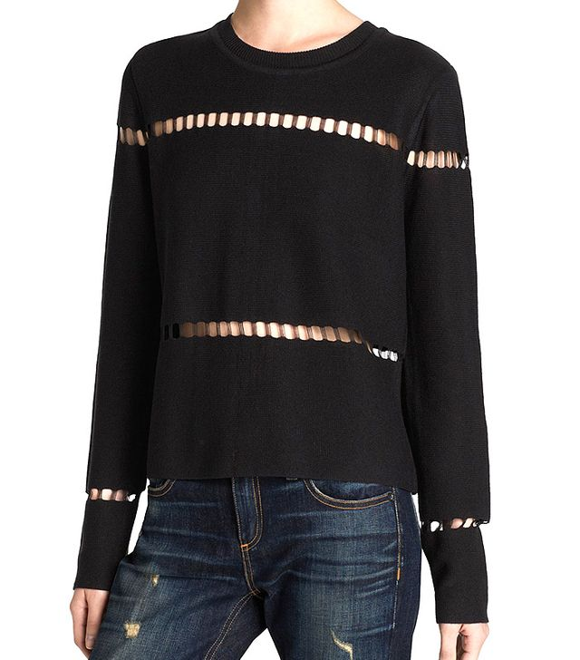 JOA Sweater Open Weave Cutout Crop