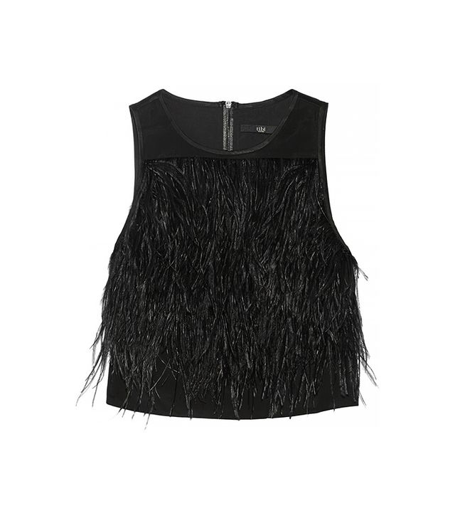 Tibi Cera Tuxedo Cropped Feather-Trimmed Crepe De Chine Top