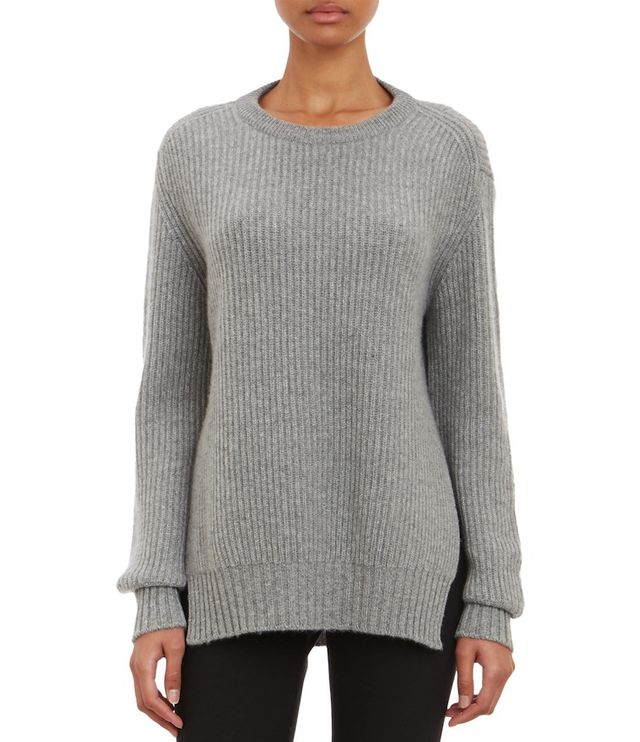 Barneys New York Cashmere English Rib-Knit Pullover Sweater