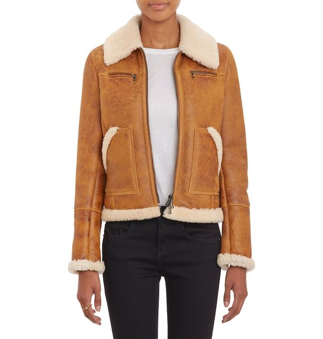 Barneys New York Lamb Shearling Zip-Up Jacket