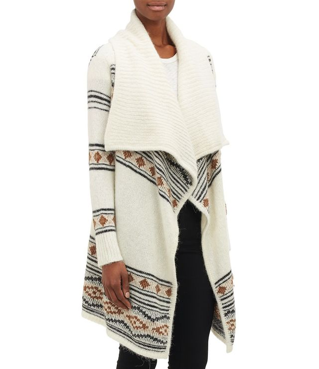 Barneys New York Fair Isle-Inspired Open-Front Long Cardigan