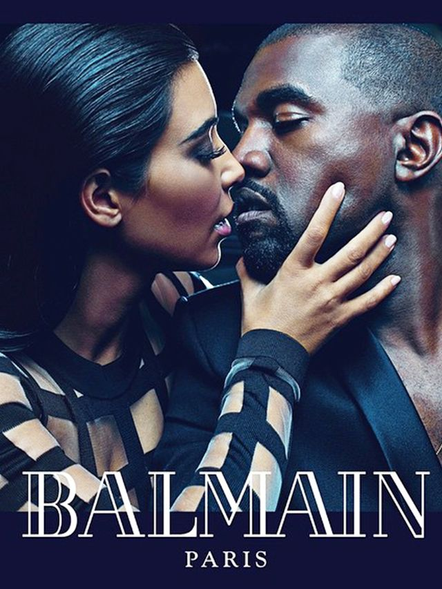 See Kim Kardashian and Kanye West Kiss in This Sultry Balmain Photo