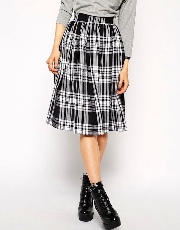 ASOS Midi Skirt in Plaid Print