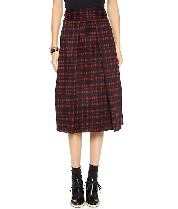 J.O.A. Pleated Long Skirt in Checks