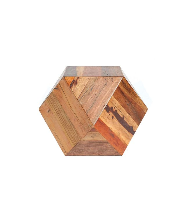 Urban Outfitters Faceted Woodblock Side Table