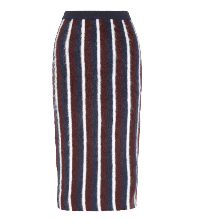 Joseph Striped Brushed Wool-Blend Midi Skirt
