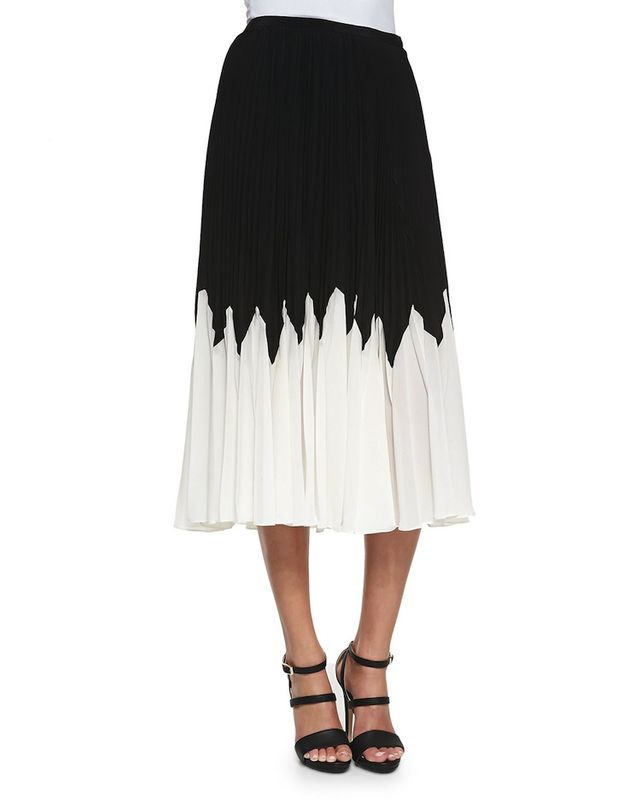 Raoul Betty Pleated Contrast Midi Skirt