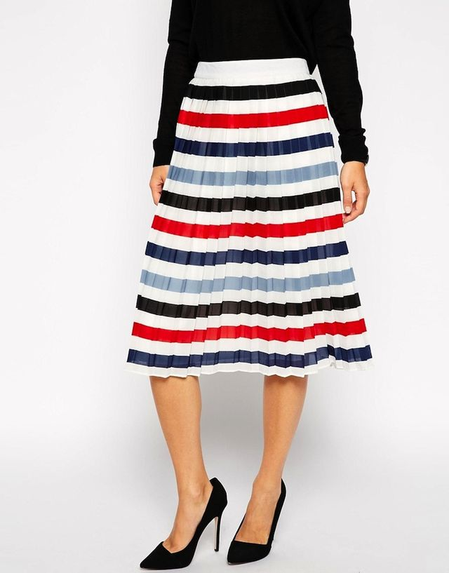 ASOS Pleated Midi Skirt in Stripe
