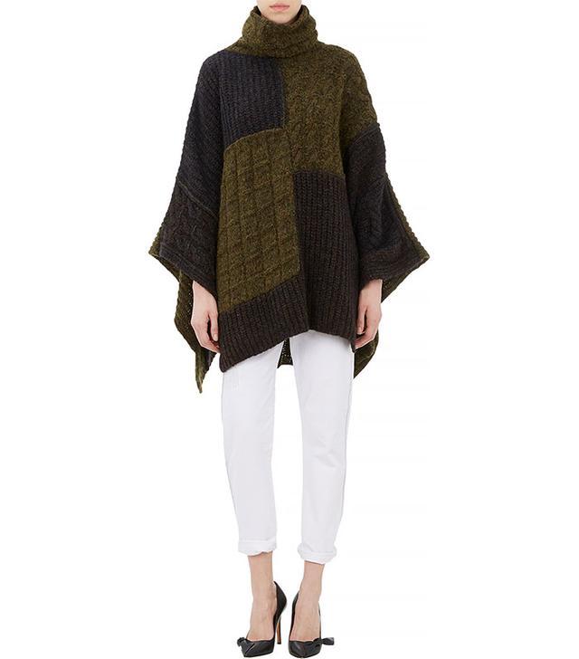 Isabel Marant Etoile Raquel Patchwork Turtleneck Poncho Sweater