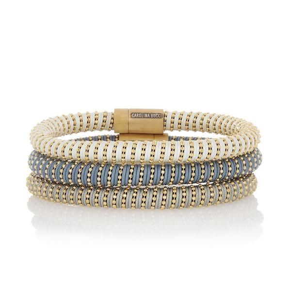 Carolina Bucci Twister Set of Three Gold-Plated and Silk Bracelets