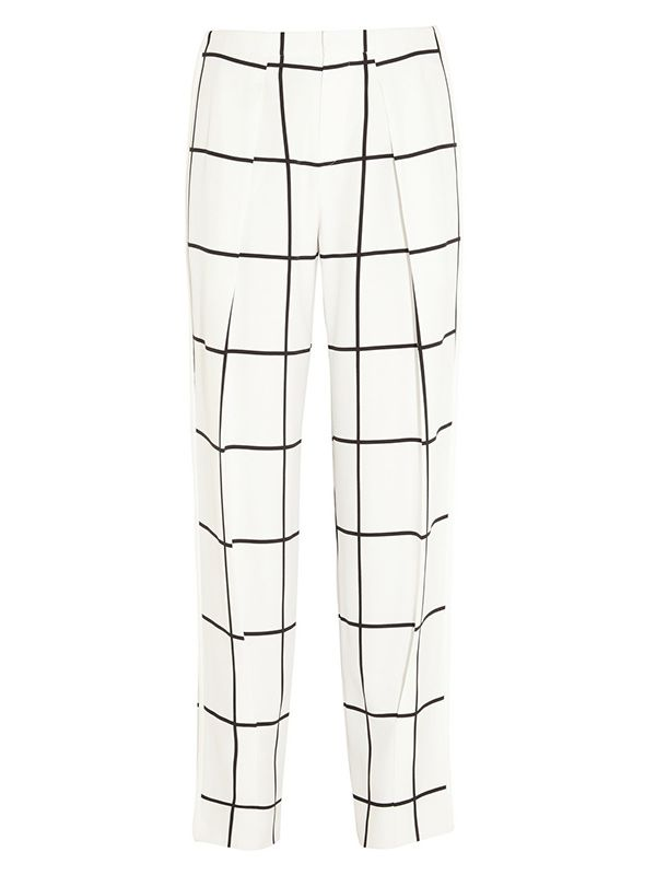 Chloe Checked Crepe Straight-Leg Pants