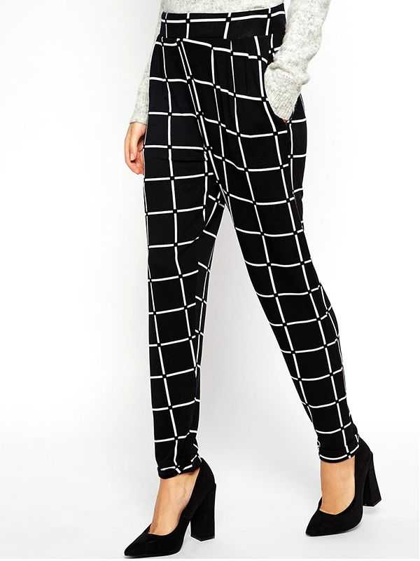 ASOS Jersey Peg Pants in Grid Check