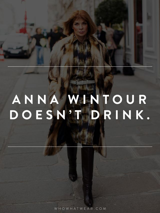 She apparently sipped on a cappuccino at the Vogue holiday party, and has admitted that she never drinks.