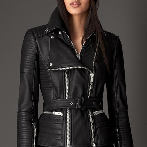 Zip Detail Leather Biker Jacket