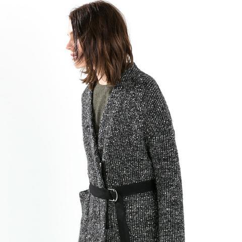 Short Knit Coat With Belt