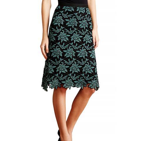 Yoana Baraschi Water Lily Lace A-Line Skirt