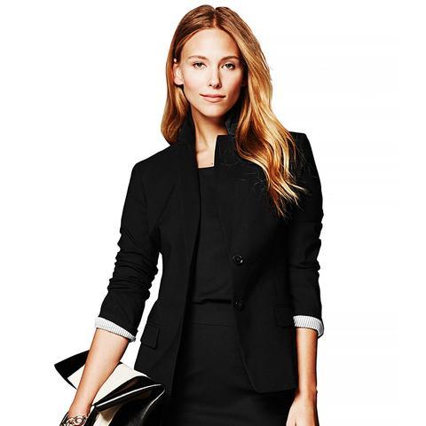 Black Lightweight Wool Two-Button Suit Blazer