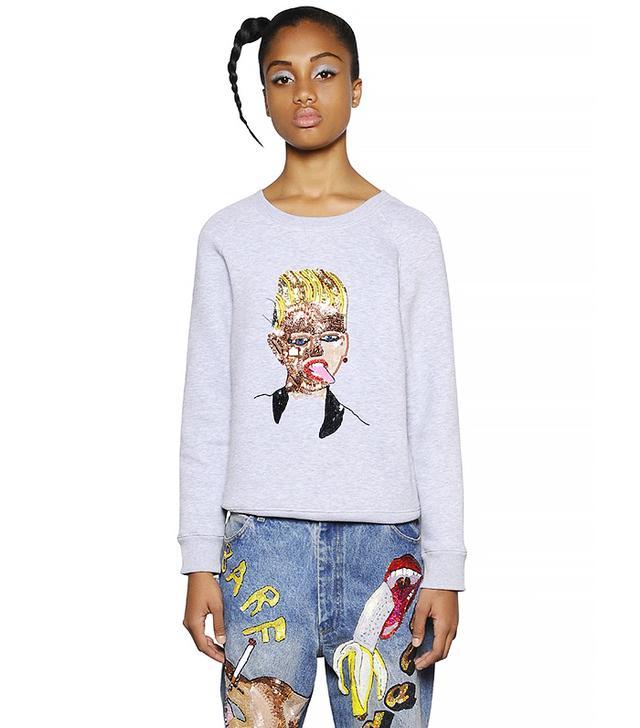 Ashish Embellished Zip-Up Cotton Sweatshirt