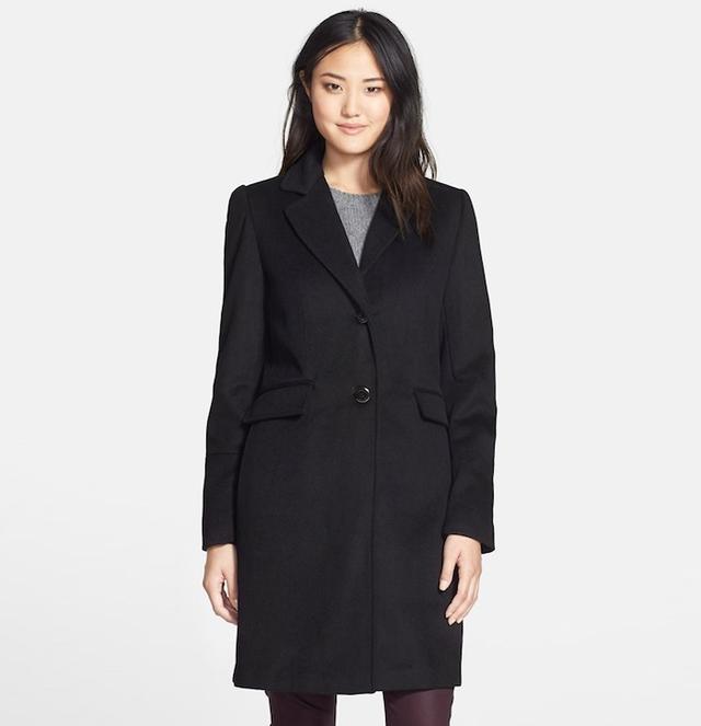 Calvin Klein Notch Collar Wool Blend Coat