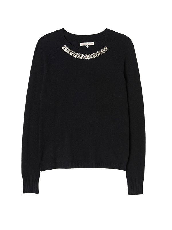 Rebecca Taylor Embellished Necklace Pullover
