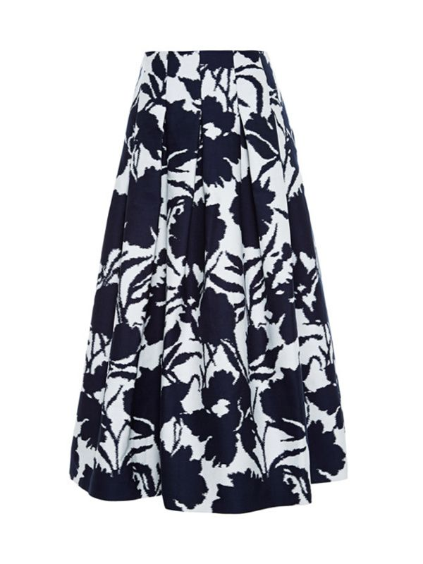 Oscar de la Renta Cotton and Silk-Blend Jacquard Skirt