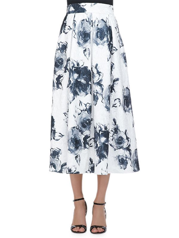 Carmen Marc Valo Floral Jacquard Pleated Midi Party Skirt