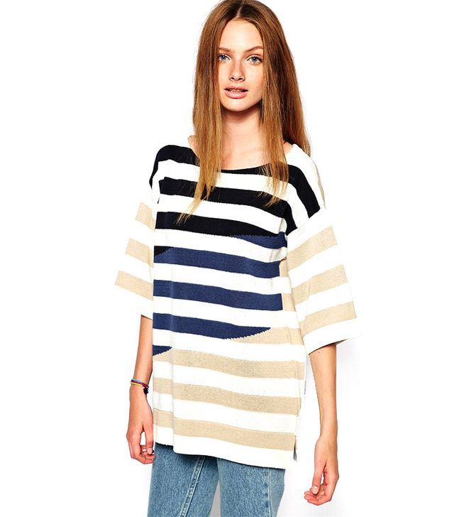 Lacoste Roll Sleeve Boat Neck Striped Sweater