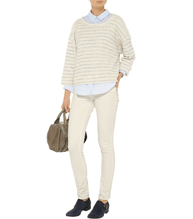 L'Agence Striped Bouclé Sweater