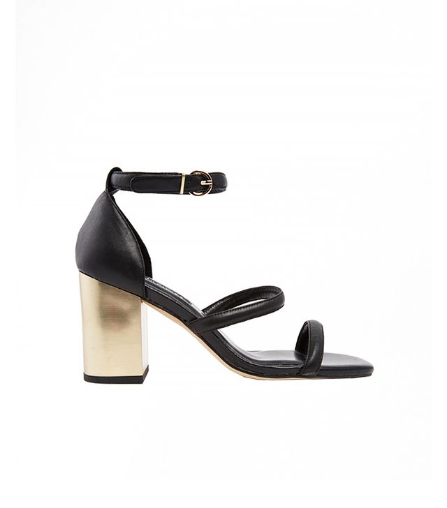 Senso Robbie Black Leather Barely-There Heeled Sandals