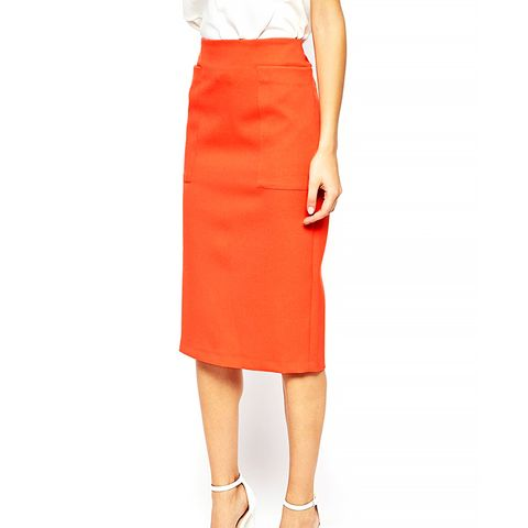 Column Pencil Skirt with Pocket Detail