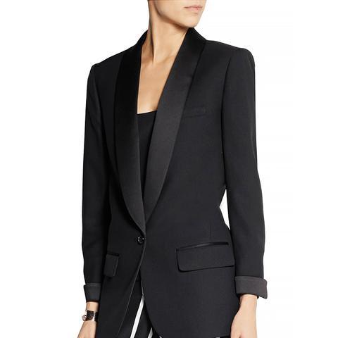 Collection Satin-Trimmed Wool-Pique Tuxedo Blazer