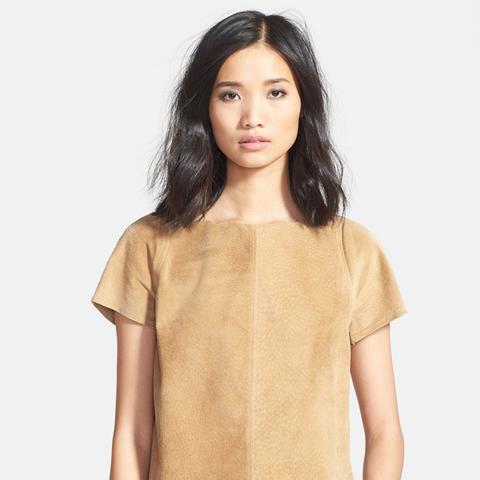 Wrap Back Faux Suede T-Shirt