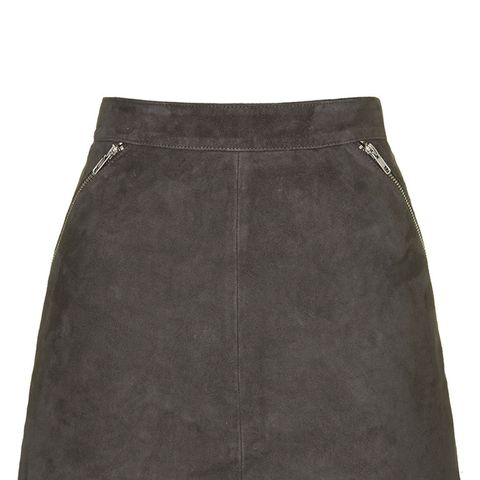 Tall Exclusive Suede Zip Skirt