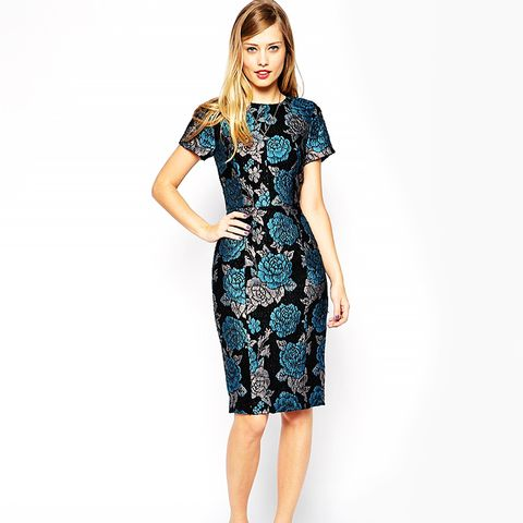 Premium Pencil Dress in Floral Jacquard