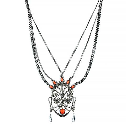 Cubist Encrusted Mask Necklace