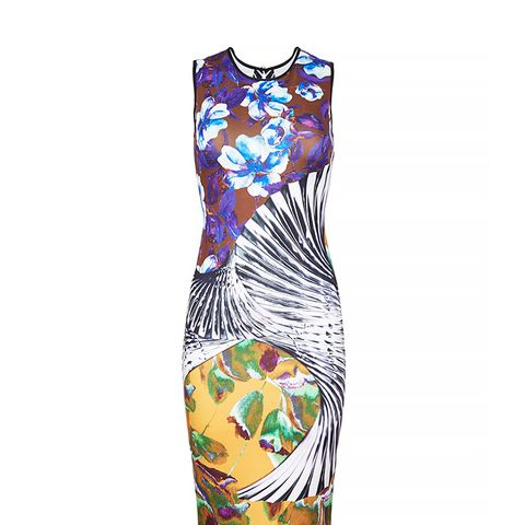 Sleeveless Neoprene Floral Wallpaper Dress