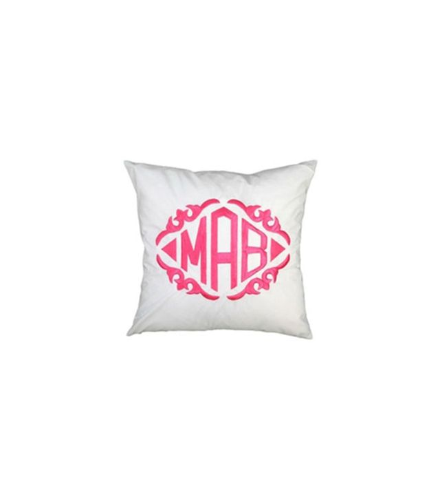 Zhush Monogrammed White Throw Pillow