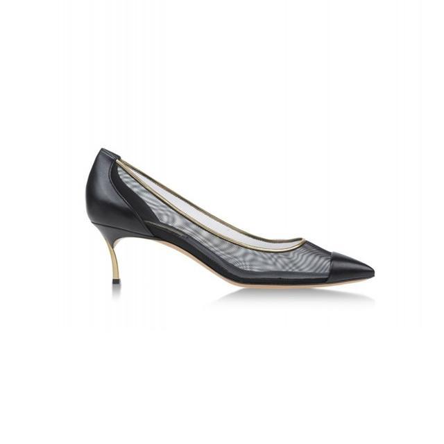 Casadei Black Mesh & Leather Heel