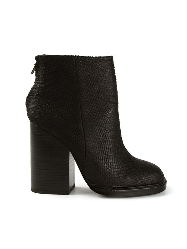 Ash Snake Skin Texture Chunky Heel Ankle Boots