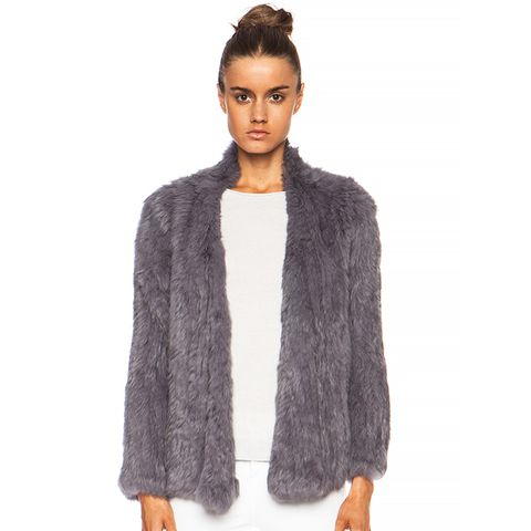 Knitted Fur Jacket in Slate Grey