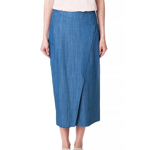 Rigid Denim Paneled Long Skirt