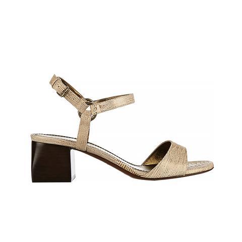 Lizard-Effect Leather Sandals